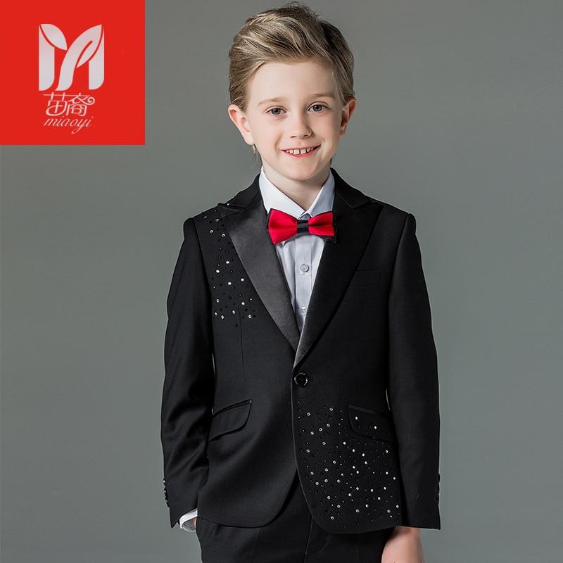 2018 Детские комплекты одежды для отдыха для маленьких детей костюмы для мальчиков Пиджаки Жилет праздничная одежда джентльмена для свадебн