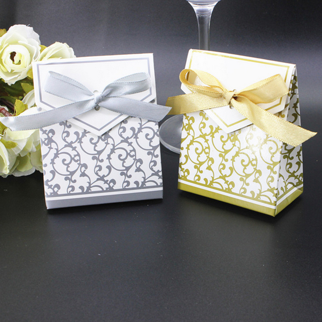 10pcs Creative Golden Silver Ribbon Wedding Favours Party Gift Candy Paper Box Cookie Bags