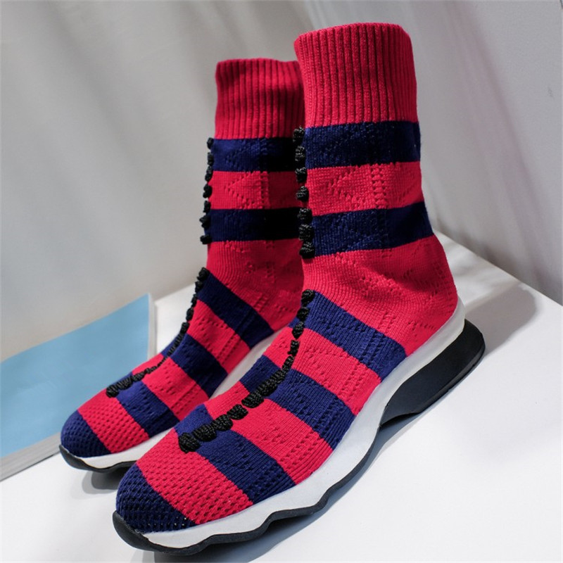 купить New Elastic Striped Socks Slip On Cake Bottom Women Boots Luxury Brand Stretch Buskin Botas Femenina Round Toe Winter Sexy Shoes дешево