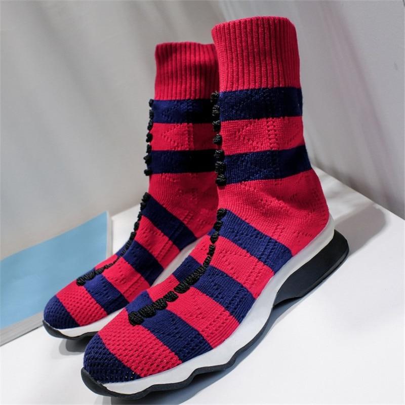 New Elastic Striped Socks Slip On Cake Bottom Women Boots Luxury Brand Stretch Buskin Botas Femenina Round Toe Winter Sexy Shoes soothing massage bottom plain socks