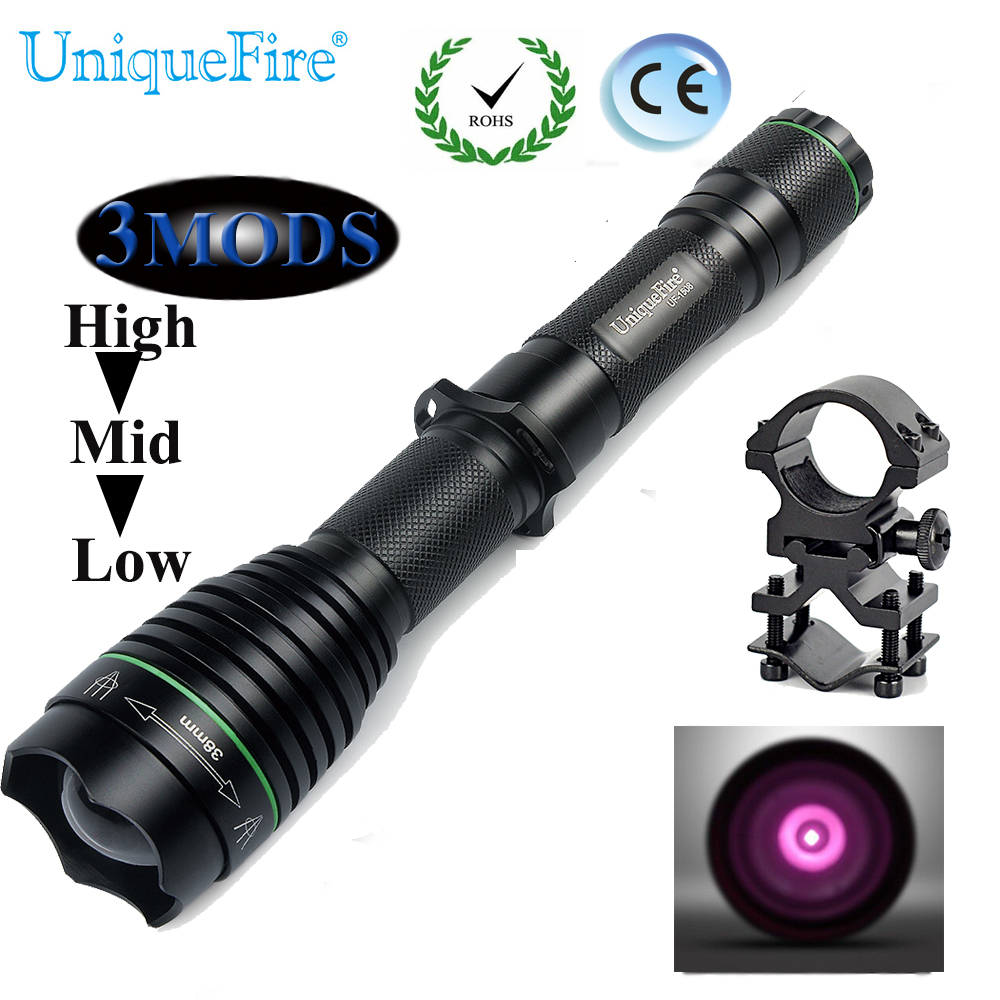 UniqueFire Newest UF-1508 Osram IR 940nm Led T38 Flashlight Night Vision Lotus Attack Head Torch 3 Modes Lamp+QQ07 Scope Mount uniquefire night vision t67 flashlight uf 1405 ir 850nm led flashlight kit lamp torch remote pressure scope mount charger