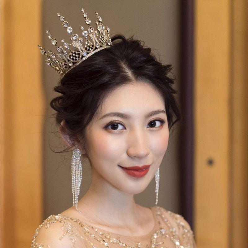 Ensemble de bijoux en cristal brillant pour mariées, couronne, mariage, bijoux exquis, accessoires de robe de soirée, diadèmes à tête ronde XL088