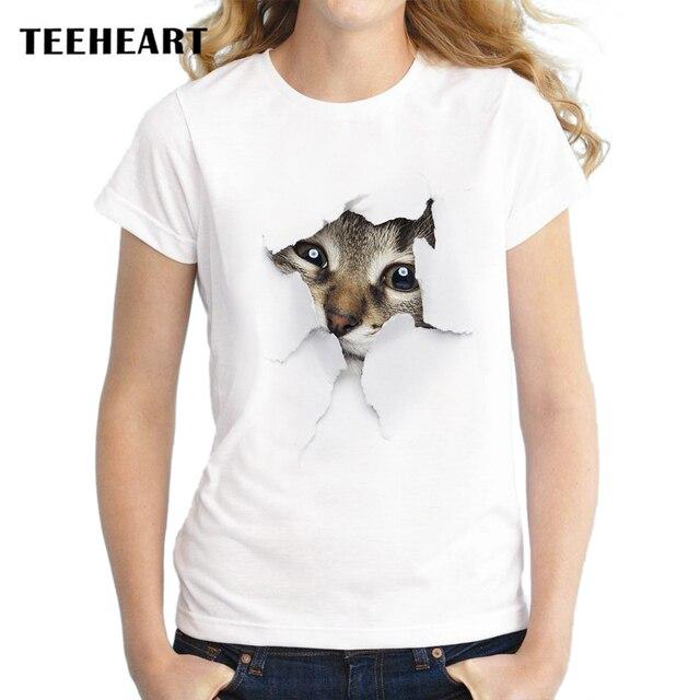 TEEHEART Naughty Cat Lovely T-Shirt for Women
