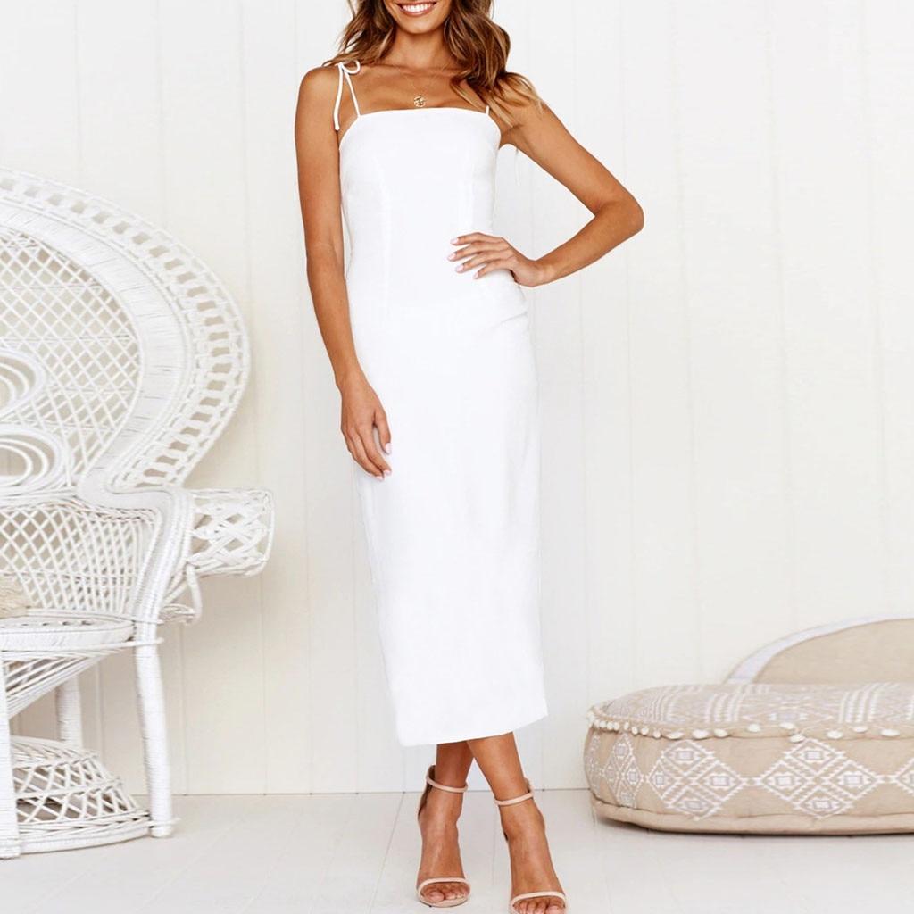 New Dresses 2019 Women Sexy Off Shoulder Backless Sleeveless Dress Evening Party Dress Vestidos Femininos