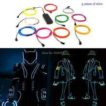 1M 3V 2AA 컨트롤러 유연한 EL 와이어 로프 튜브 테이프 방수 LED 네온 불빛 신발 의류 자동차 장식