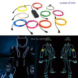 Image 1 - 1M 3V 2AA controller Flexible EL Wire Rope Tube tape Waterproof LED Neon Lights Shoes Clothing Car Decor