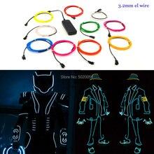 1m 3v 2aa controlador flexível el fio corda tubo de fita à prova dwaterproof água led luzes néon sapatos roupas decoração do carro