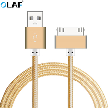 OLAF 30 Pin USB Metal Nylon Braided Sync Data Charging Charger USB Cable for iphone 4 4s Fast Charger Adapter Cable For ipad 2 3