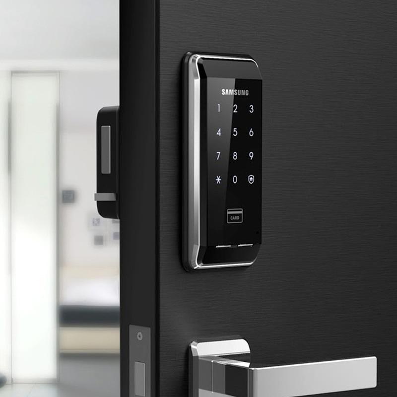 US $120 4 14% OFF|SAMSUNG Ezon SHS 2920 Digital Keyless Electronic Keypad  Deadbolt Door Lock+6 Key Card-in Electric Lock from Security & Protection  on