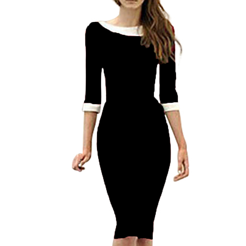 OUFANGMEIYI Store Vintage Women Formal Business Dresses Elegant Patchwork Bodycon Pencil Casual Dress Wear To Work 450