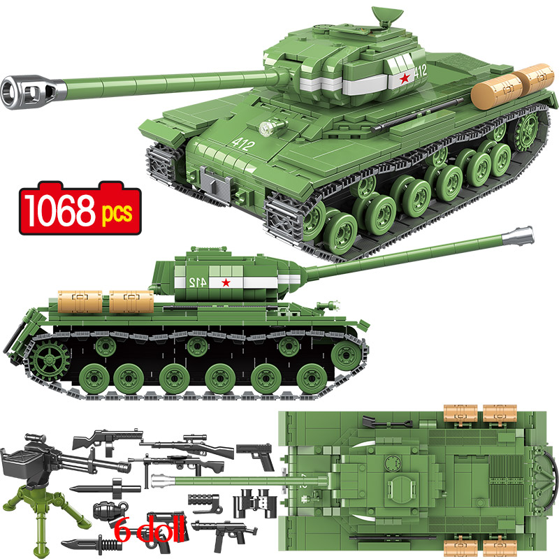 1068 PCS Military Soviet Russia IS 2M Heavy Tank Building Blocks Soldier Police Weapon Bricks Toys