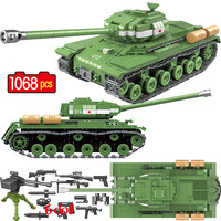 1068 PCS Military Soviet Russia IS 2M Heavy Tank Building Blocks Soldier Police Weapon Bricks Toys legoingly Tank Blocks WW2