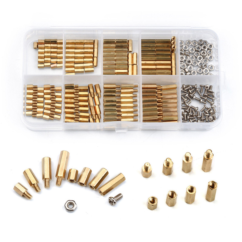 300PCS/Set M2 Brass Copper Female/Male Spacing Screws Security Surveillance Cameras Pillars Knurled Standoff Spacer Kit zenhosit 300pcs female male brass copper m3 hex column spacer threaded screw nut pillars knurled standoff spacer kit