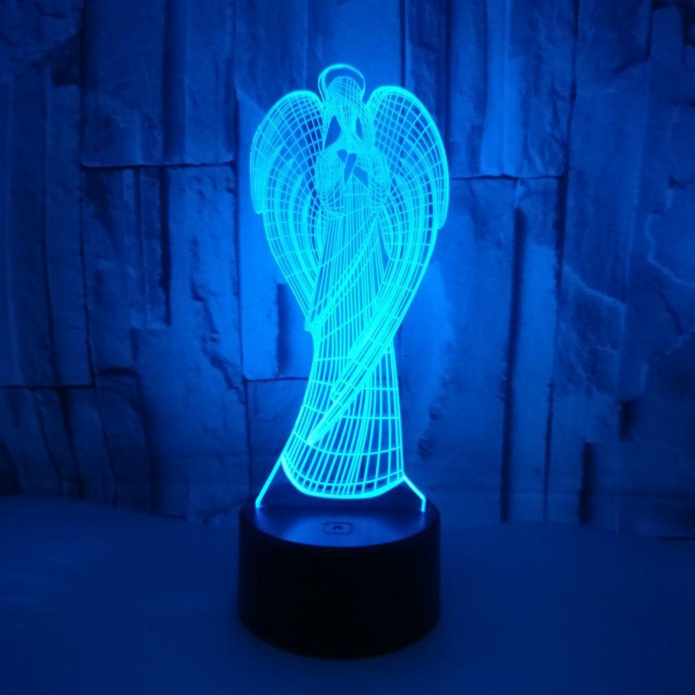Novo anjo 3d pequena luz da noite toque remoto colorido presentes 3d pequeno crianças lâmpada luminaria de mesa 3d luminárias