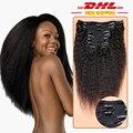 7А Класс Клип В 100% Человеческих Волос Бразильского Виргинские волосы Курчавые Прямо Клип в Наращивание Волос Kinky Прямая Клип ins