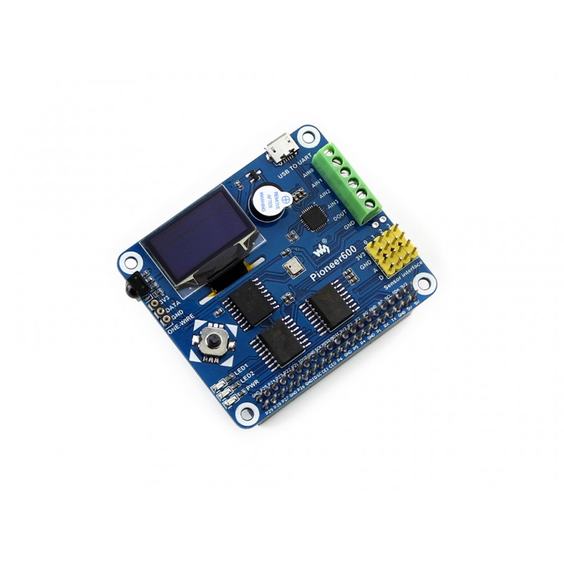 Waveshare Raspberry Pi Expansion Board Pioneer600 Supports RPi 3 Model B/2 B/ A+/B+ CP2102 USB TO UART 0.96inch OLED Display