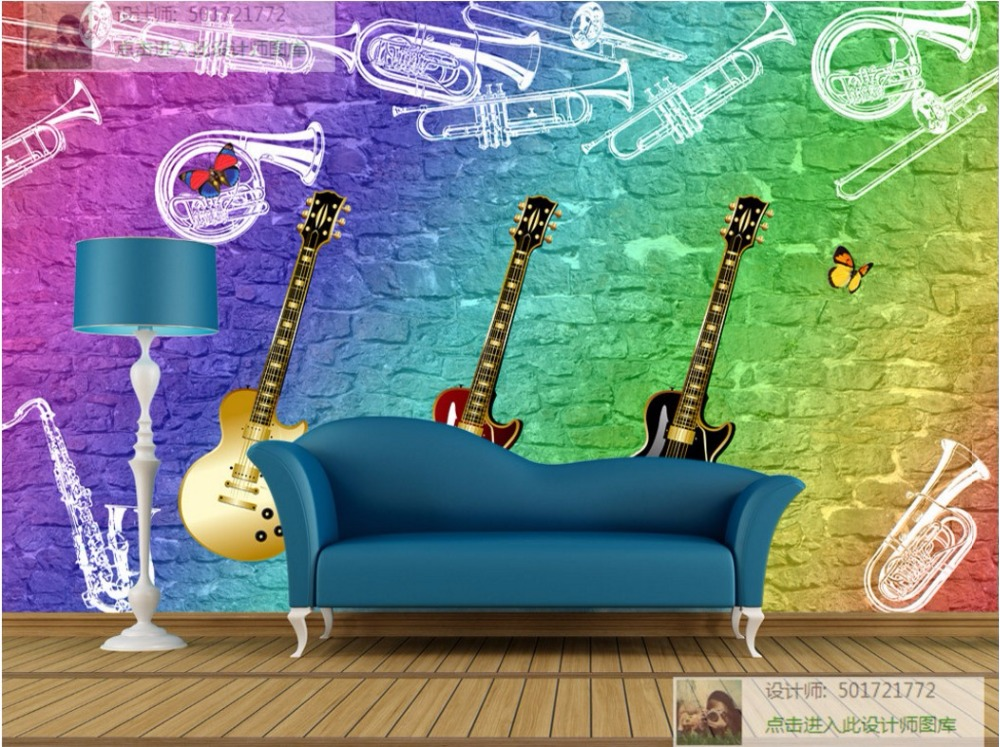 Large Modern Living Room TV Background Murals Wallpaper KTV Bar Restaurant Wall Paper 3D Guitar