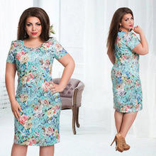 Big size 6XL 2017 woman summer dress casual short sleeve slim printing dresses Fat MM plus size women clothing 6xl dress