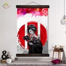 купить!  Red Sun Geisha Japan Art Современные Wall Art Печать Поп-Арт Картина И Плакат Висят Свиток Холст