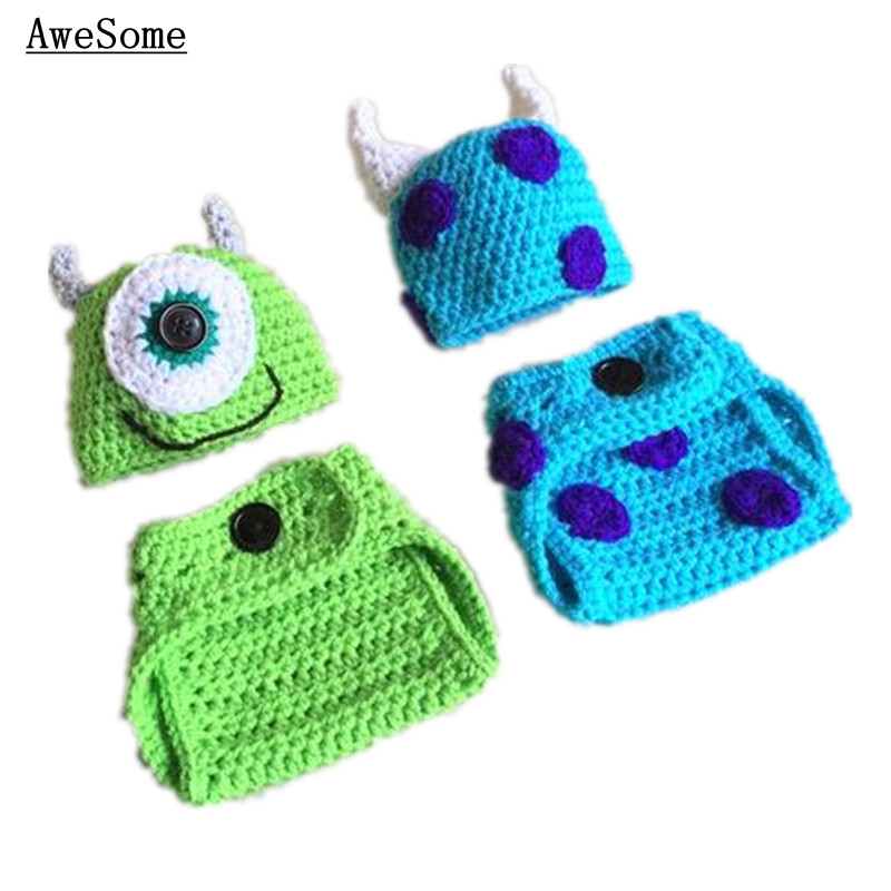 Mike and Sulley Monster OutfitsHandmade Knit Crochet Baby Boy Girl Hatu0026Diaper CoverTwins Halloween CostumeInfant Photo Prop-in Clothing Sets from Mother ...  sc 1 st  AliExpress.com & Mike and Sulley Monster OutfitsHandmade Knit Crochet Baby Boy Girl ...