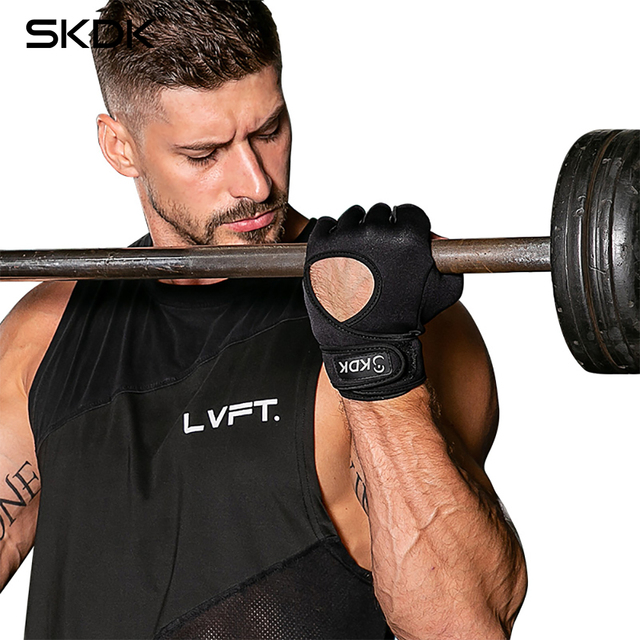 SKDK Super Fiber Widening Wristband Breathable Gym Fitness Gloves Crossfit  Weight Lifting Dumbbell Body Building Workout Gloves 1