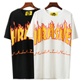 New Arrival O-neck Men Thrasher T Shirt Brand Hip Hop Fashion Short Sleeve High Quality Women Cotton Kpop Flame Tshirt Tops Tees