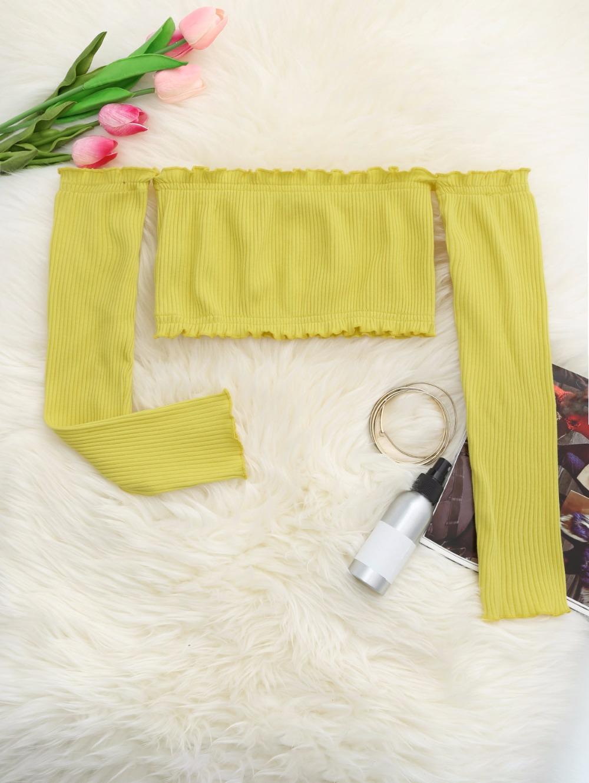 HTB17sI3RpXXXXcfXpXXq6xXFXXXX - Frilled Off The Shoulder Crop Top Summer Floral Knitted Female Tops JKP006