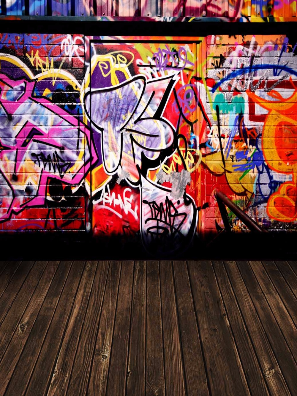 Aliexpress Com Buy Cool Graffiti Wall Dark Wood Floor Photography Background For Teenage Vinyl Backdrops For Photography Custom Photo Studio Props From