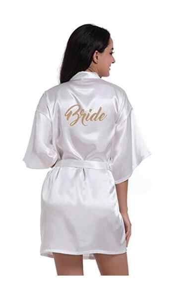 465e048703 Silk Bride of Mother Robe with Gold Letter Sexy Women Short Satin Wedding  Kimono Sleepwear Get