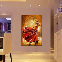 Hand painted spain dancer with red dress oil painting on canvas modern abstract beautiful figures pictures for home decor gift
