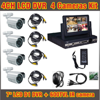 7 Lcd D1 DVR 600TVL 4 Channel D1 Recorder Kit 4ch Home DIY CCTV System Outdoor
