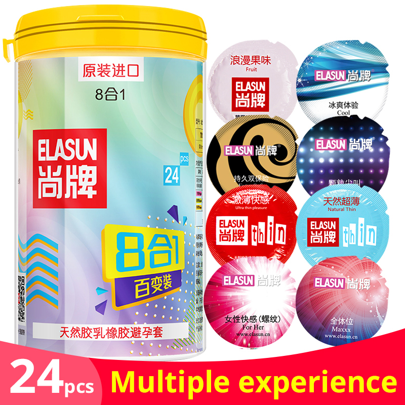 Elasun Original 24pcs/bank condoms man lifestyles 8 styles in one box fruit flavours super ultra thin sex toy products for men