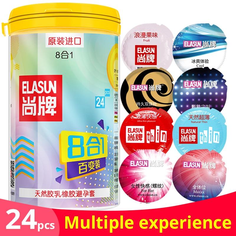 Elasun Originele 24 stks/bank condooms man levensstijl 8 stijlen in een box fruit smaken super ultra dunne seksspeeltje producten voor mannen