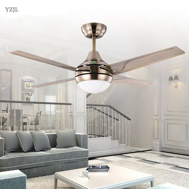 Chandelier Fan chandelier lamp LED European antique iron leaf fan chandelier fan light simple stylish modern remote control