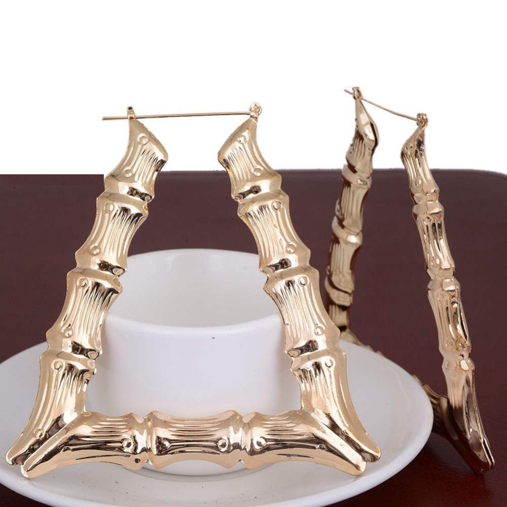 Women Basketball Wives Hoop Earrings Celebrity Large Gold Silver Plate Big U-Shape Bamboo Earring
