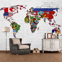 Free Shipping Retro Flag Map Of The World Cafe Bar Office Graffiti Wallpaper Mural Tooling Background