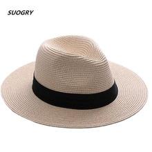 SUOGRY, брендовые соломенные шляпы для женщин, Панама, шляпа бежевого и белого цвета, мужская пляжная Повседневная шляпа с широкими полями, летняя Гавайская модная шляпа от солнца
