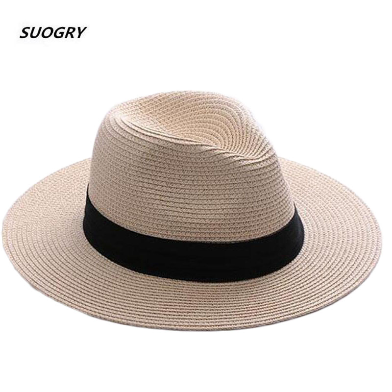 SUOGRY Brand Straw Hats For Women Panama Hat Beige White Mens Beach Casual Wide Brimmed Summer Hawaiian Fashion Sun Hat
