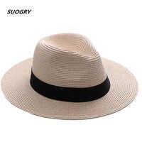 SUOGRY Marke Stroh Hüte Für Frauen Panama Hut Beige Weiß Herren Strand Beiläufige Breite Krempe Sommer Hawaiian Mode Sonne Hut
