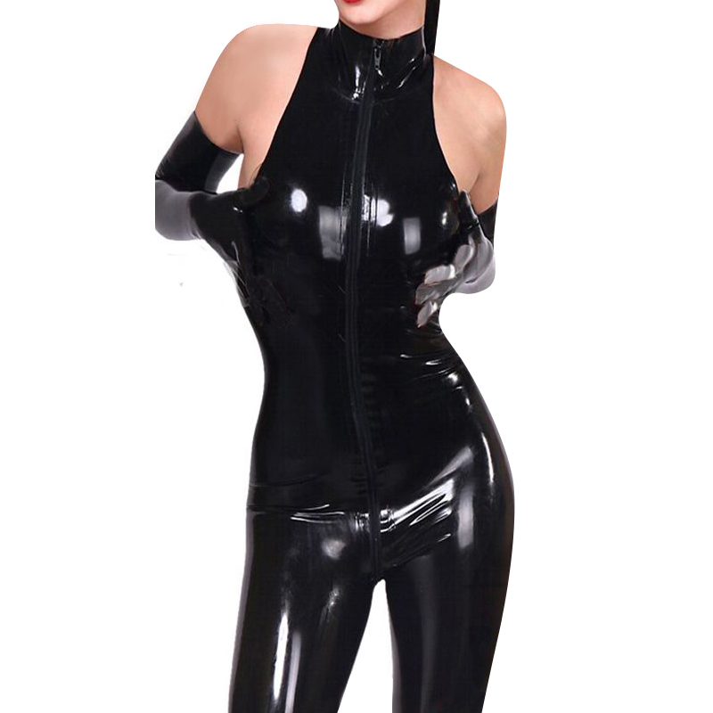 Sexy Wet Look Catsuit Sleeveless Faux Leather Jumpsuit For Women Full Bodysuit Black One Piece Front Zipper Pants Club Wear