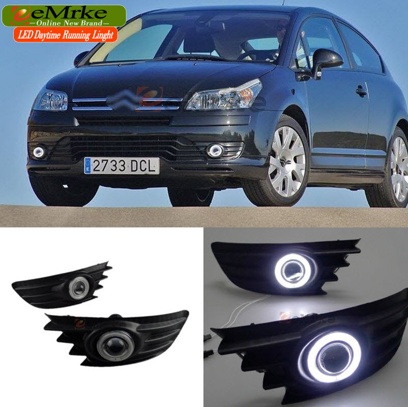 eeMrke Car-styling For Citroen C4 VTR 2005-2010 LED Angel Eyes DRL Fog Lights Daytime Running Lights with Halogen Bulbs H11 55W for opel astra h gtc 2005 15 h11 wiring harness sockets wire connector switch 2 fog lights drl front bumper 5d lens led lamp