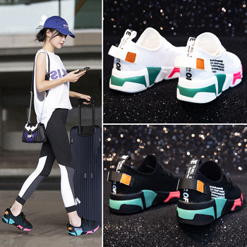 Dumoo Girl Sneakers Shoes Women White/Black Breathable Sneakers Casual Shoes Female Mixed Colors Shoes Heel 5cm Zapatillas Mujer