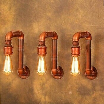 ФОТО E27 Village Loft Industrial Edison Style Vintage Wall Light Lamp With 1 Light,Bulb Included, Retro Water Pipe Lamp Wall Sconce