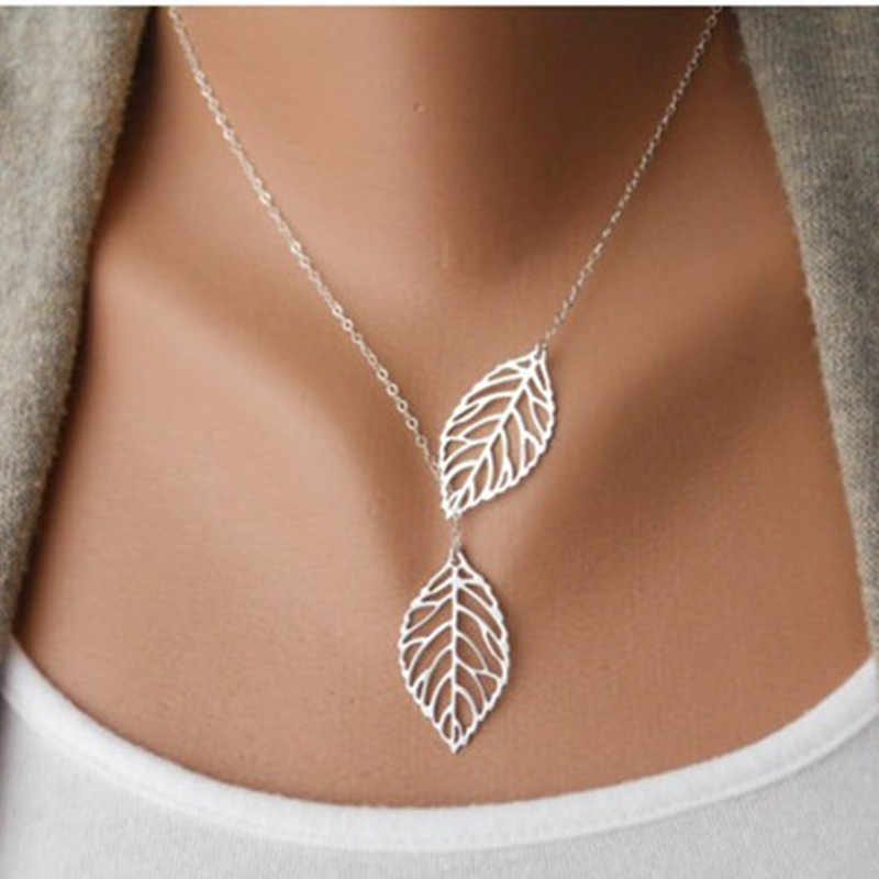 NK607 New Punk Fashion Minimalist Two Leaves Pendant Clavicle Necklaces For Women Jewelry Gift Tassel Summer Beach Chain Collier