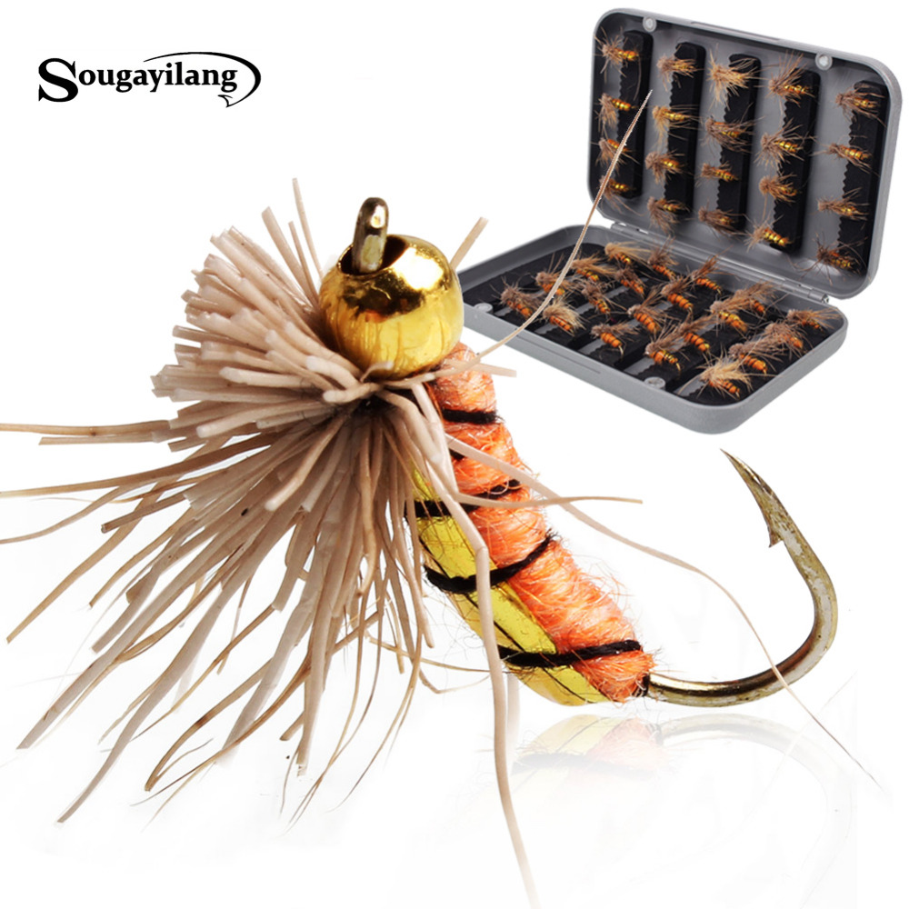 Buy sougayilang 40pcs lot trout nymph fly for Fly fishing bait