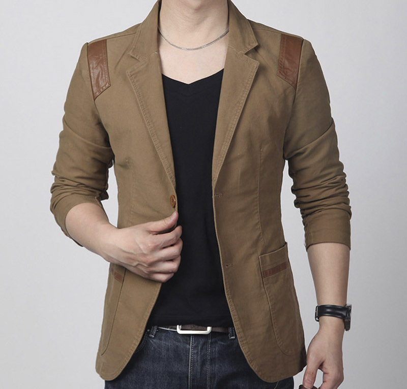 Slim Fit Leather Patchwork Men Outwear Blazer