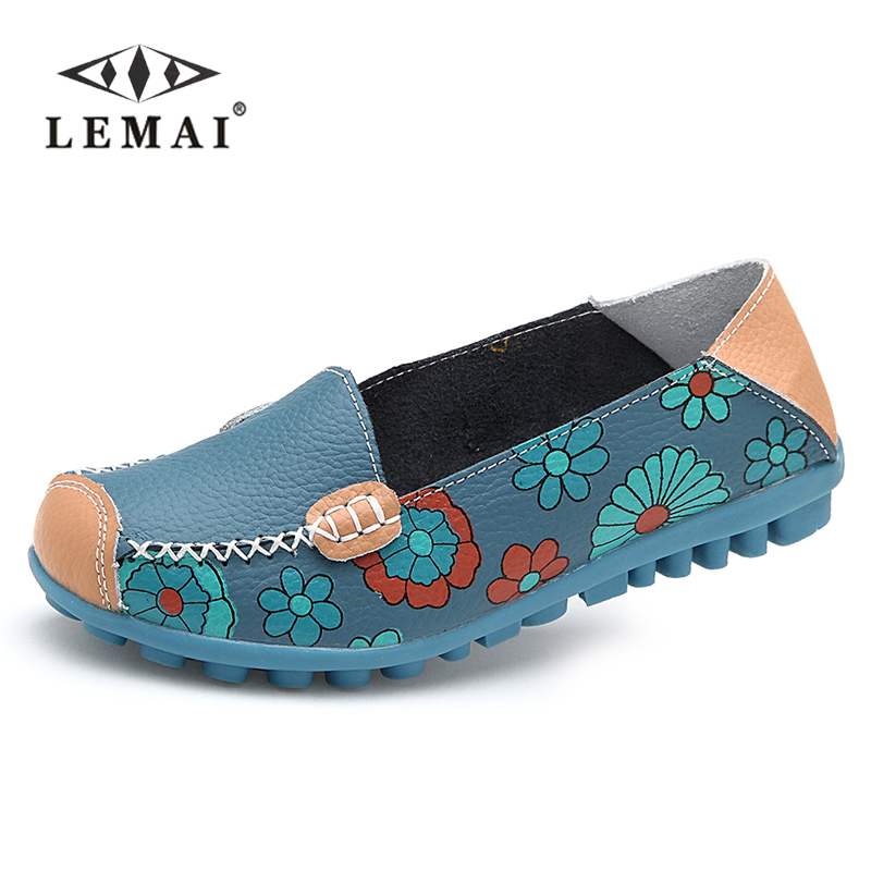 LEMAI 2017 Spring women flats shoes women genuine leather shoes woman cutout loafers slip on ballet