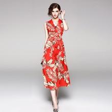 PADEGAO Summer Womens Wear 2019 Temperament V Sleeveless Fashion Chiffon Printing Retro Elegant Slim Commuter Leisure Suit