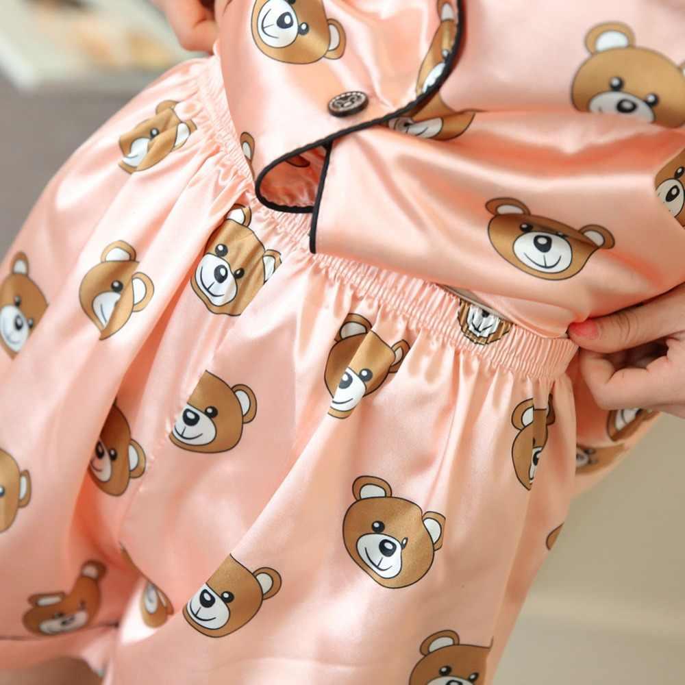 Bielizna nocna 2 sztuk komplet piżamy 2019 kobiety wiosna lato Sexy jedwabne piżamy ustawia Satin garnitur snu słodkie słodkie bielizna nocna w domu ubrania