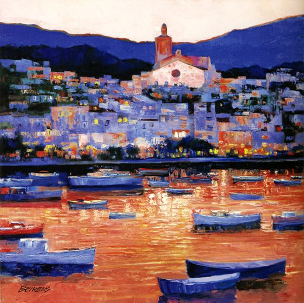 free shipping mediterranean house night lights scenery impression oil painting canvas prints on canvas wall decoration picture